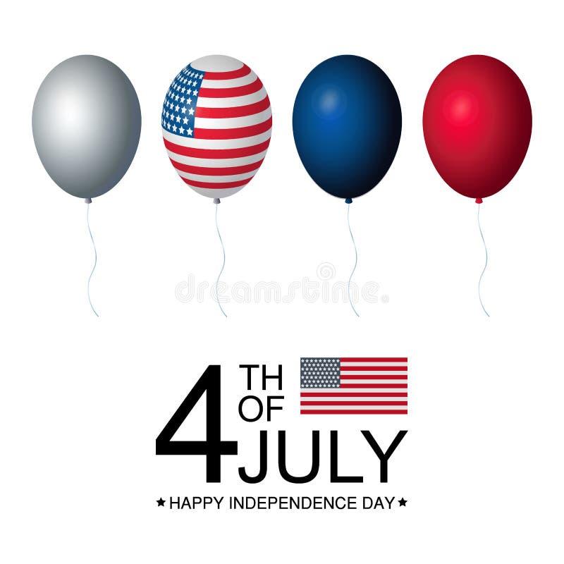 Colección del sistema de la celebración de los E.E.U.U. del Día de la Independencia de globos en colores rojos, blancos y azules, ilustración del vector