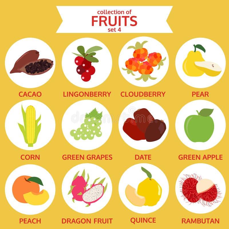 Colección del sistema 4, ejemplo del vector de la comida, icono plano de las frutas stock de ilustración