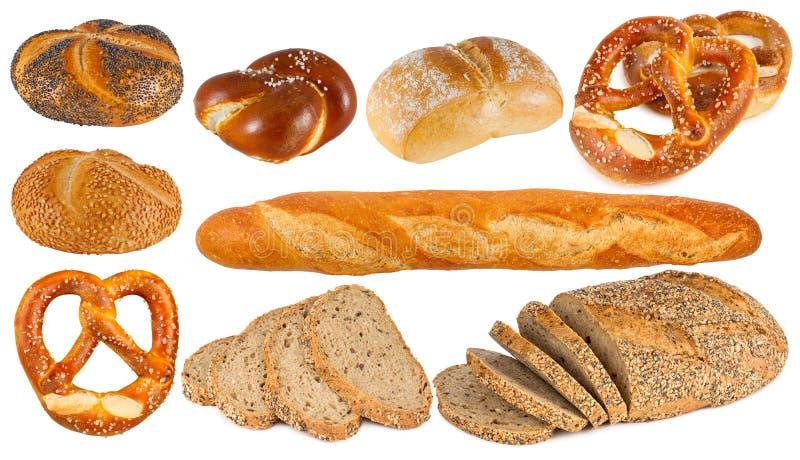 Colección del sistema fondo blanco aislado de baguette alemán del pretzel del bollo del pan de los productos de la panadería y fr imagen de archivo libre de regalías