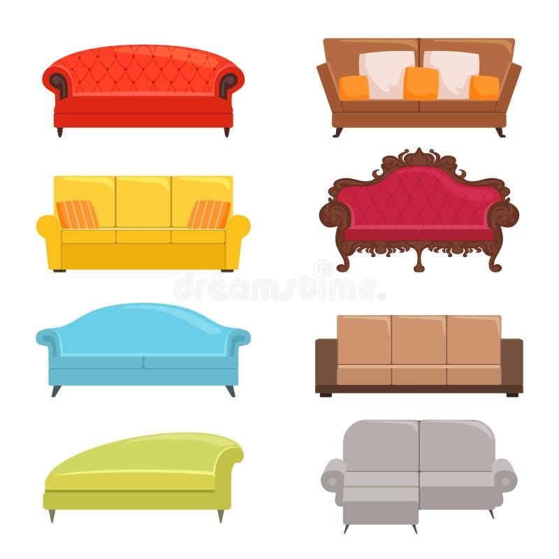 colección del sofá Muebles interiores del diván de la cama del vector moderno clásico del coche stock de ilustración