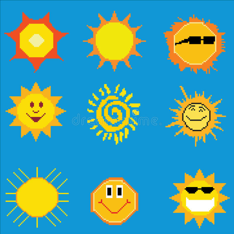 Colección del sol del arte del pixel ilustración del vector