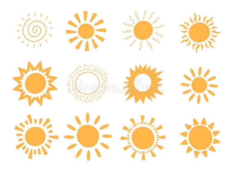 Colección del sol del vector del garabato Concepto del verano de la sol Forma caliente abstracta Fondo lindo ilustración del vector