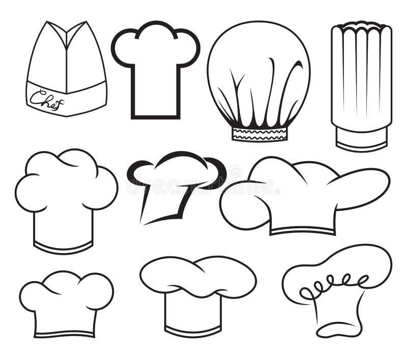 Colección del sombrero del cocinero ilustración del vector