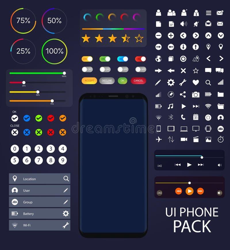 Colección del teléfono de UI Moblie | Elementos del vector del paquete de la interfaz de usuario libre illustration