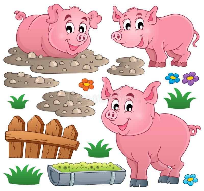 Colección 1 del tema del cerdo stock de ilustración