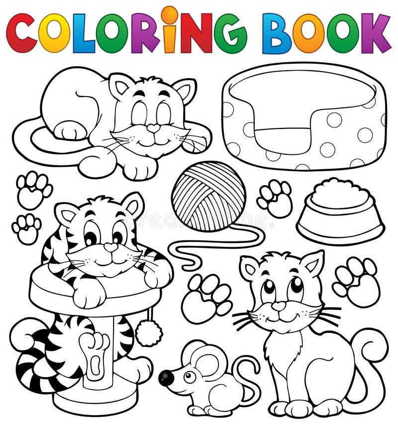 Colección del tema del gato del libro de colorear stock de ilustración