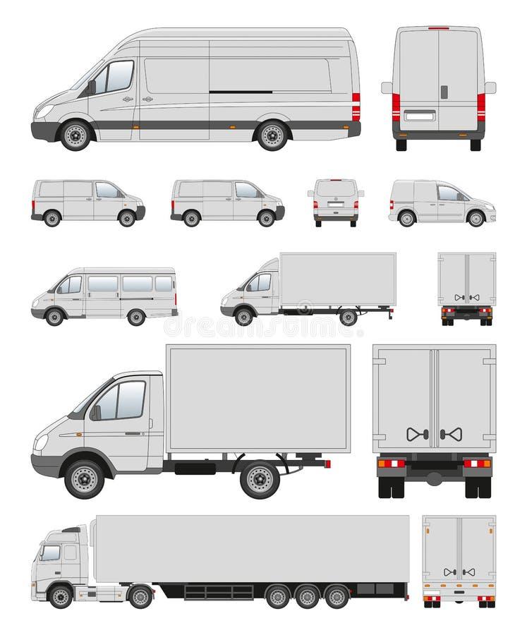 Colección del transporte comercial en contorno libre illustration