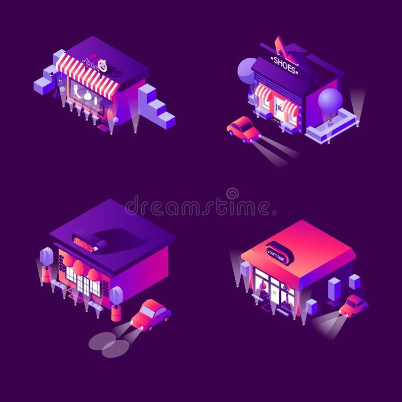Colección del vector con los boutiques de la noche y las tiendas de la moda en estilo isométrico Colección brillante del vector b stock de ilustración