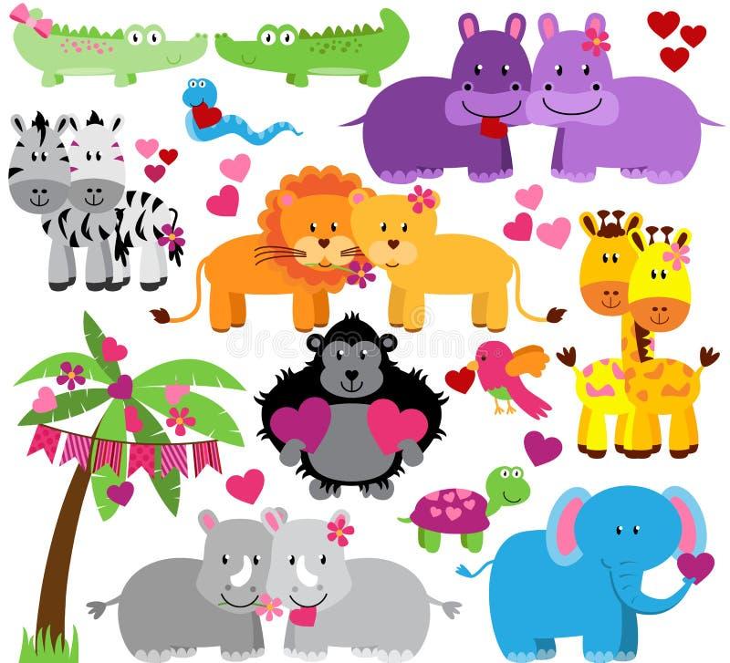 Colección del vector de animales lindos del parque zoológico del día de tarjetas del día de San Valentín stock de ilustración