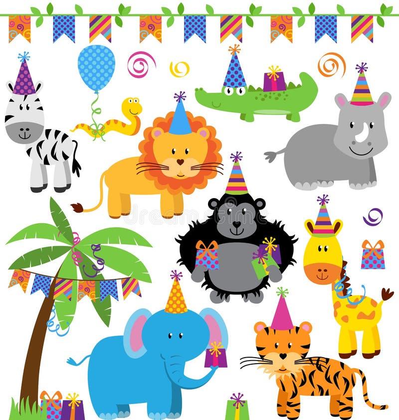 Colección del vector de animales temáticos de la selva de la fiesta de cumpleaños libre illustration