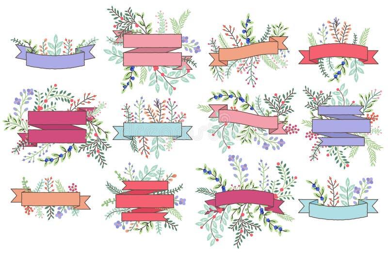 Colección del vector de banderas florales del vintage stock de ilustración
