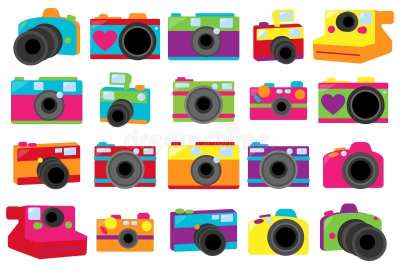 Colección del vector de cámaras retras lindas libre illustration