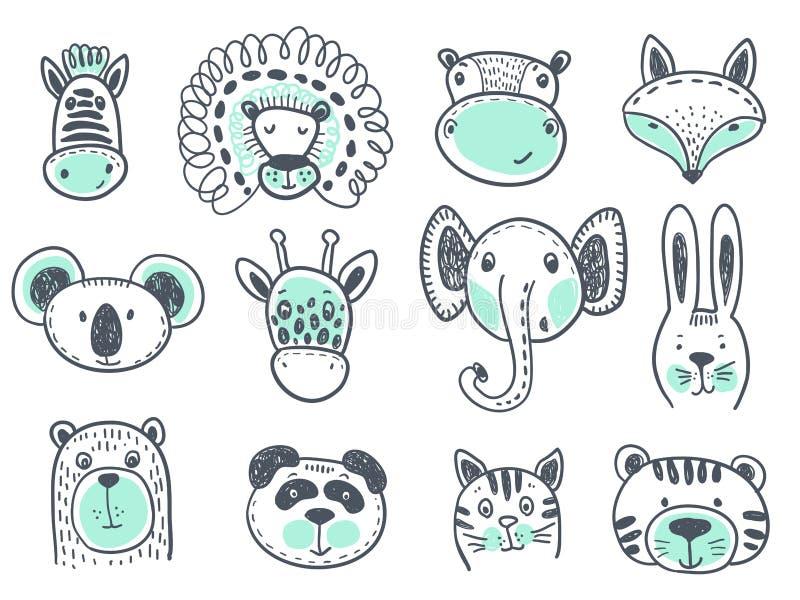 Colección del vector de cabezas animales lindas libre illustration