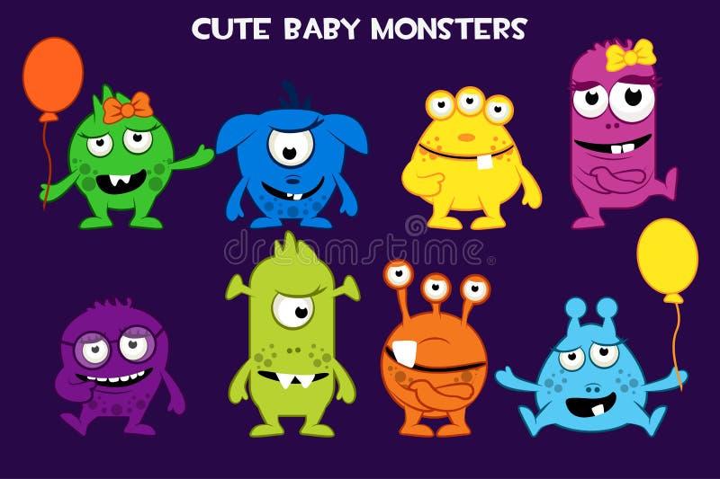 Colección del vector de caracteres lindos de los monstruos del bebé de la historieta, coloridos y divertidos de las bacterias ilustración del vector