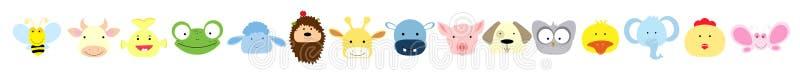 Colección del vector de caras animales lindas stock de ilustración