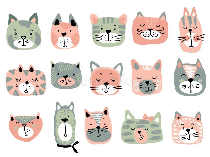 Colección del vector de caras coloridas del gato Ejemplo divertido para los niños stock de ilustración