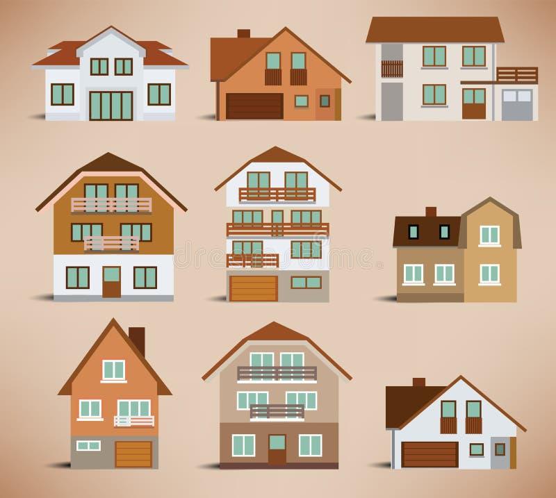 Casas urbanas (colores retros) stock de ilustración