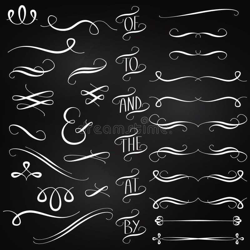 Colección del vector de decoraciones del estilo de la pizarra ilustración del vector