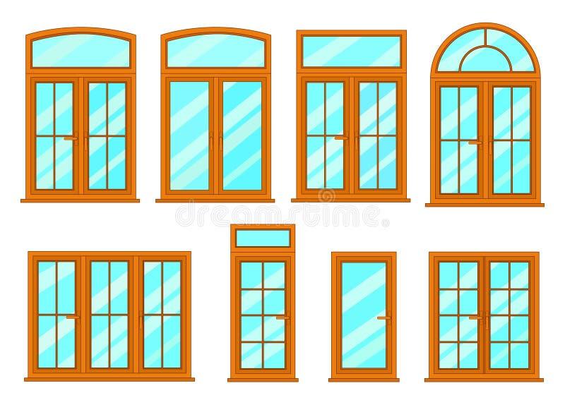 Colección del vector de diversos tipos de las ventanas ilustración del vector