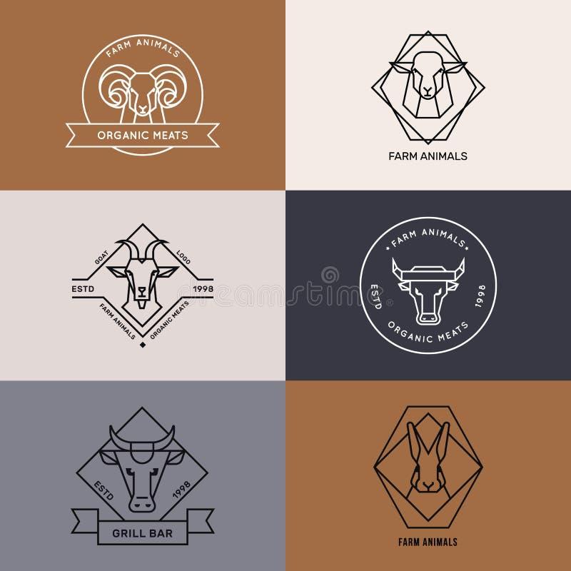 Colección del vector de ejemplo del logotipo de los iconos de los animales del campo en estilo linear aislados stock de ilustración