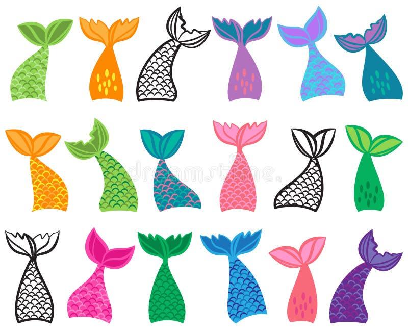 Colección del vector de ejemplos de la cola de la sirena stock de ilustración