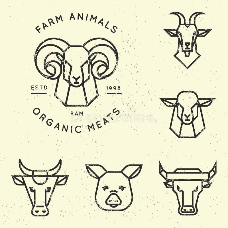 Colección del vector de ejemplos de los iconos de los animales del campo en estilo linear aislados libre illustration