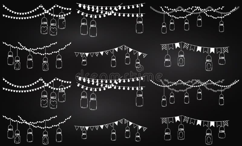 Colección del vector de estilo Mason Jar Lights de la pizarra ilustración del vector