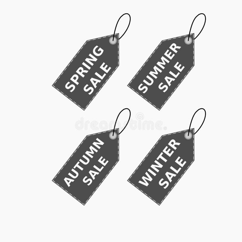 Colección del vector de etiquetas marrones de la venta con el texto - venta de la primavera, verano, venta, venta del otoño, vent libre illustration