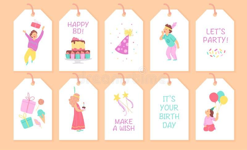 Colección del vector de etiquetas y de tarjetas de la fiesta de cumpleaños de los niños con los caracteres felices del muchacho y ilustración del vector