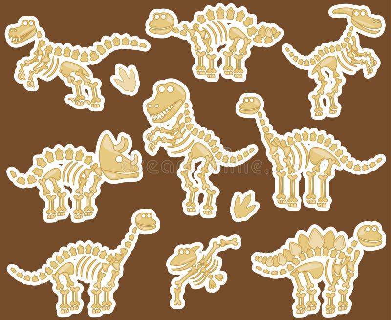 Colección del vector de fósiles o de huesos de dinosaurio stock de ilustración
