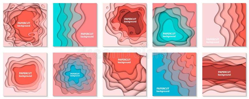 Colección del vector de 10 fondos con formas en colores pastel coloridas del corte del papel ilustración del vector