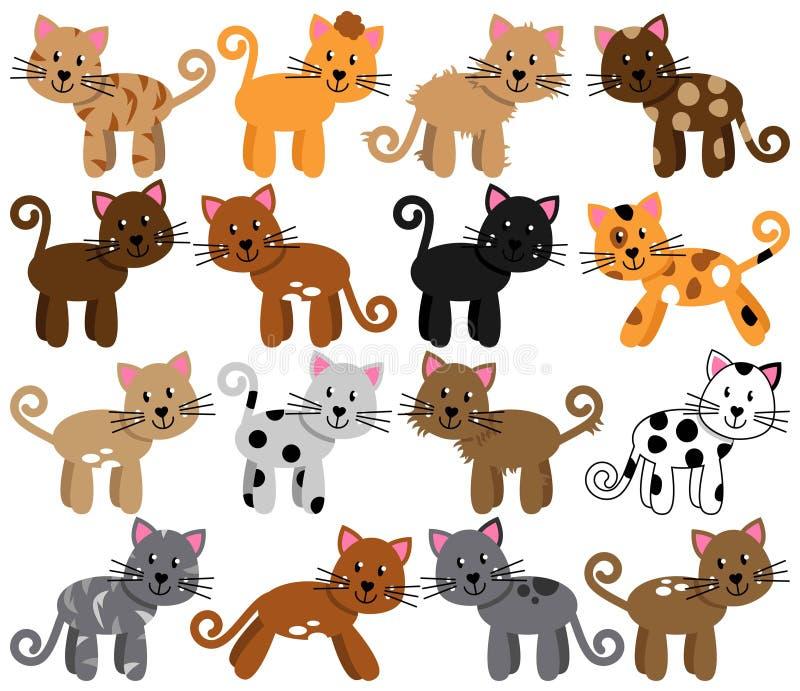Colección del vector de gatos lindos y juguetones stock de ilustración
