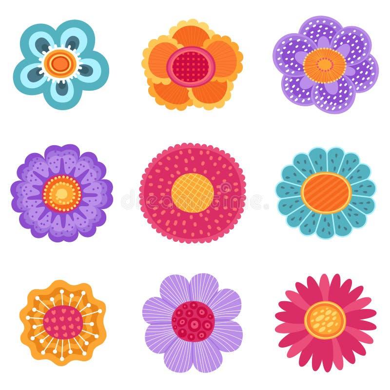 Colección del vector de iconos de la flor de la primavera en la silueta aislada en el fondo blanco stock de ilustración