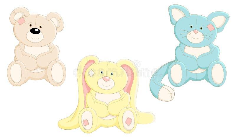 Conjunto del vector de juguetes lindos stock de ilustración