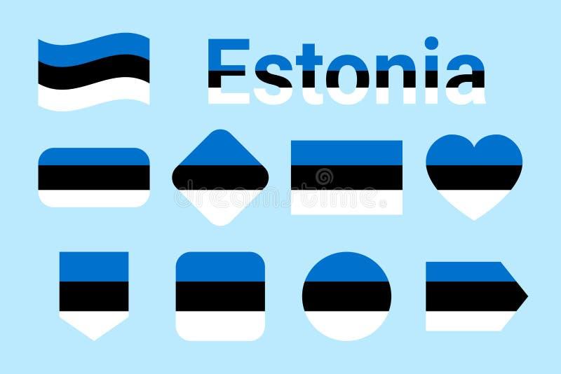 Colección del vector de la bandera de Estonia Sistema de banderas nacionales estonias Iconos aislados plano, colores tradicionale stock de ilustración