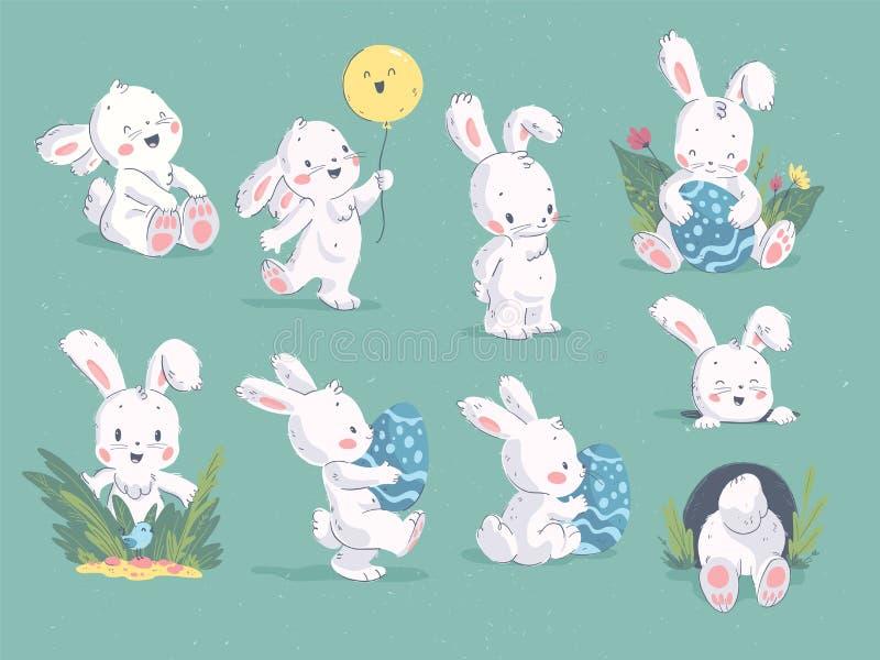 Colección del vector de lindo exhausto de la mano poco carácter del conejo con el balón de aire, agujero, huevo de Pascua, elemen stock de ilustración