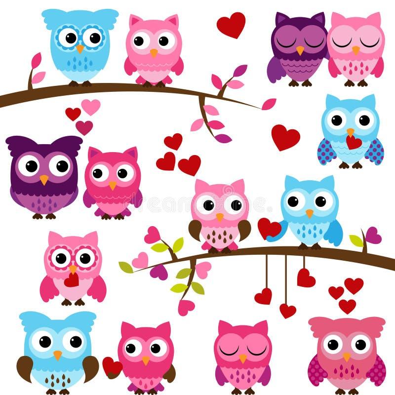 Colección del vector de los búhos temáticos del día de tarjeta del día de San Valentín ilustración del vector