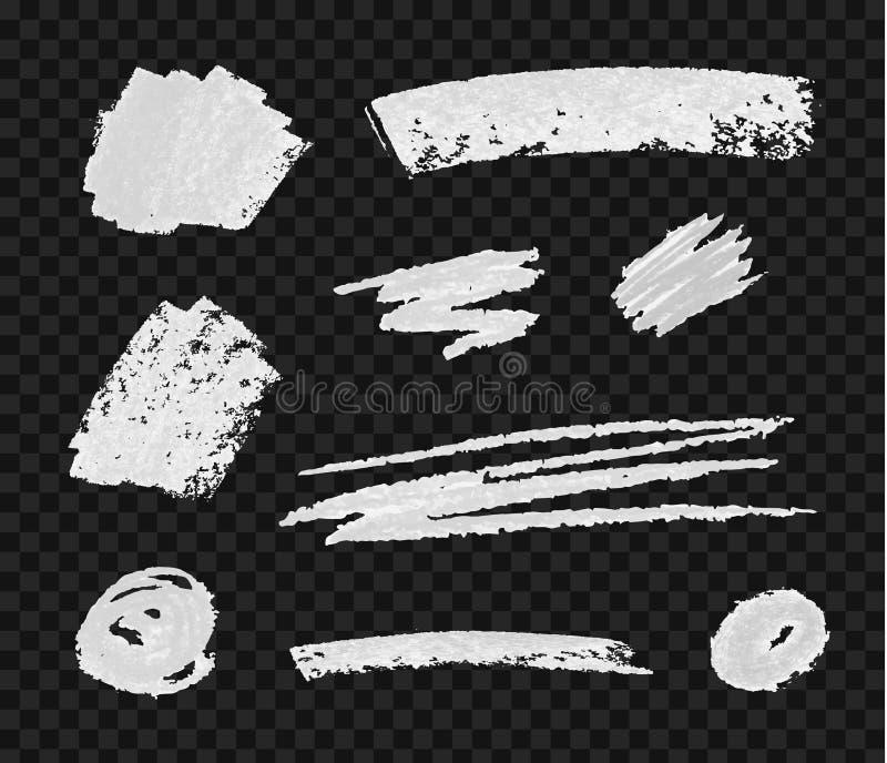 Colección del vector de los cepillos de la tiza, elementos texturizados blancos en fondo oscuro ilustración del vector