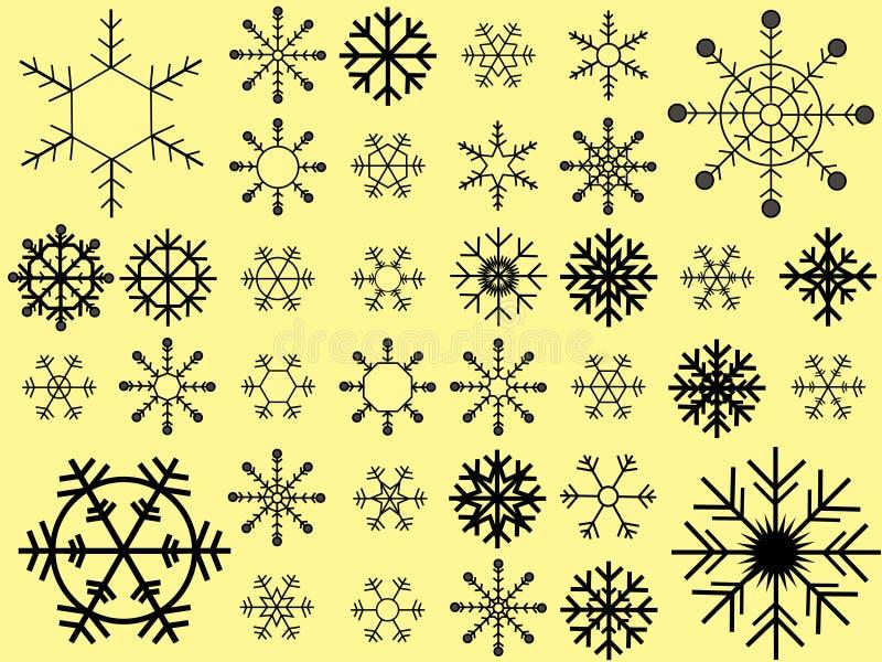 Colección del vector de los copos de nieve stock de ilustración