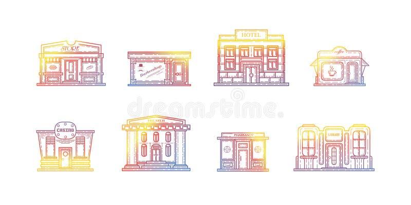 Colección del vector de los edificios Diseño que hace compras sobre el ejemplo blanco del fondo libre illustration