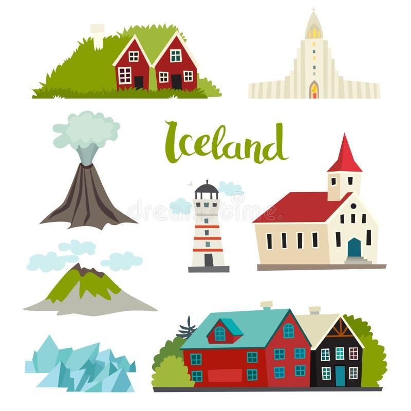 Colección del vector de los iconos de Islandia ilustración del vector