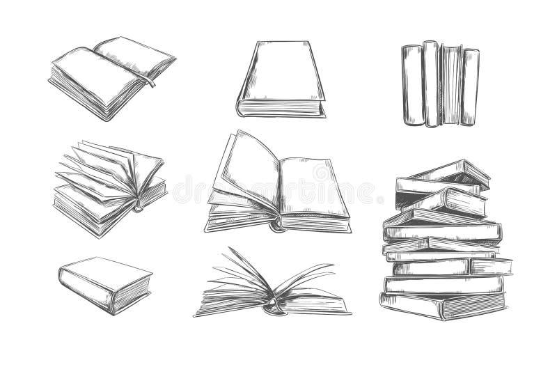 Colección del vector de los libros Pila de libros Ejemplo dibujado mano en estilo del bosquejo Biblioteca, tienda de libros stock de ilustración