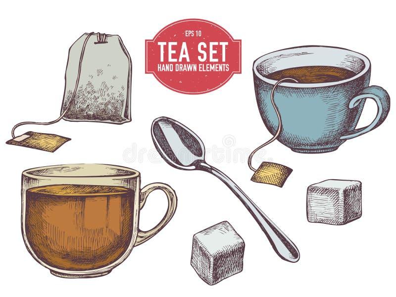 Colección del vector de materia exhausta del té de la mano fotografía de archivo