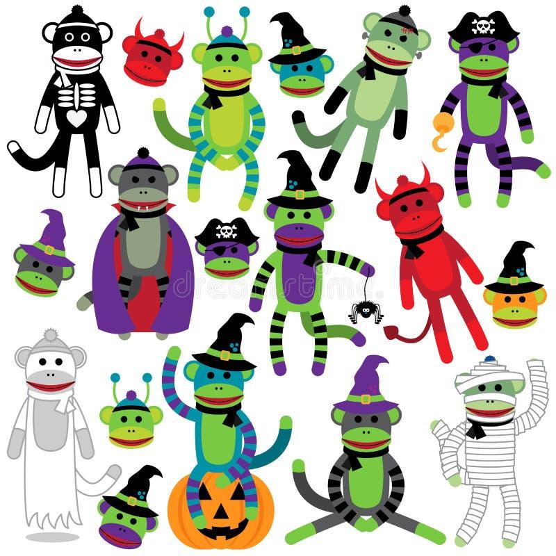 Colección del vector de monos temáticos adorables del calcetín de Halloween stock de ilustración