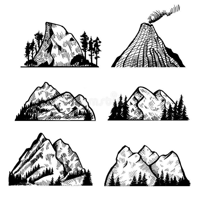 Colección del vector de montañas y de rocas Ilustración del vector libre illustration