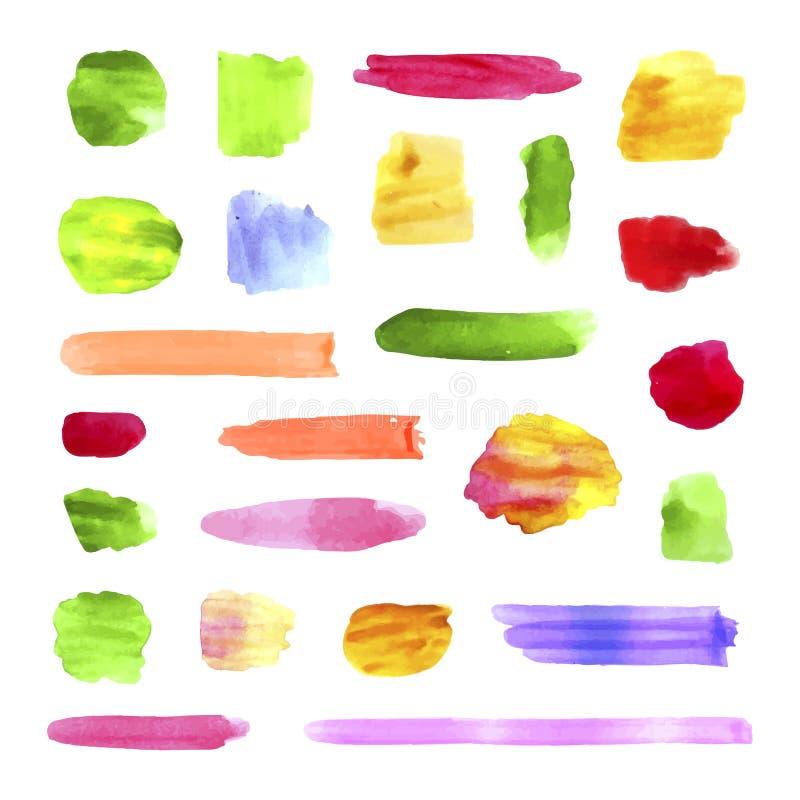 Colección del vector de movimientos del cepillo de la acuarela, puntos coloridos de la pintura stock de ilustración