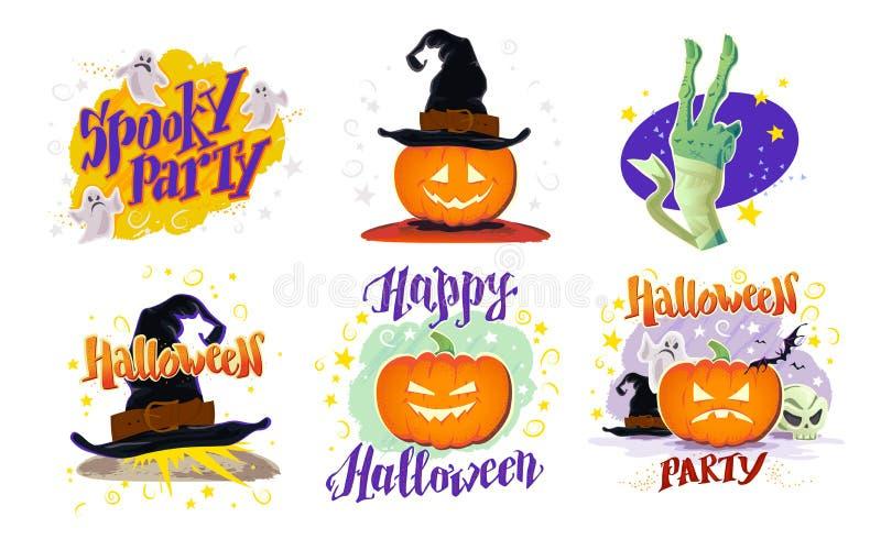 Colección del vector de muestras planas del diseño de Halloween de la historieta aisladas en el fondo blanco ilustración del vector