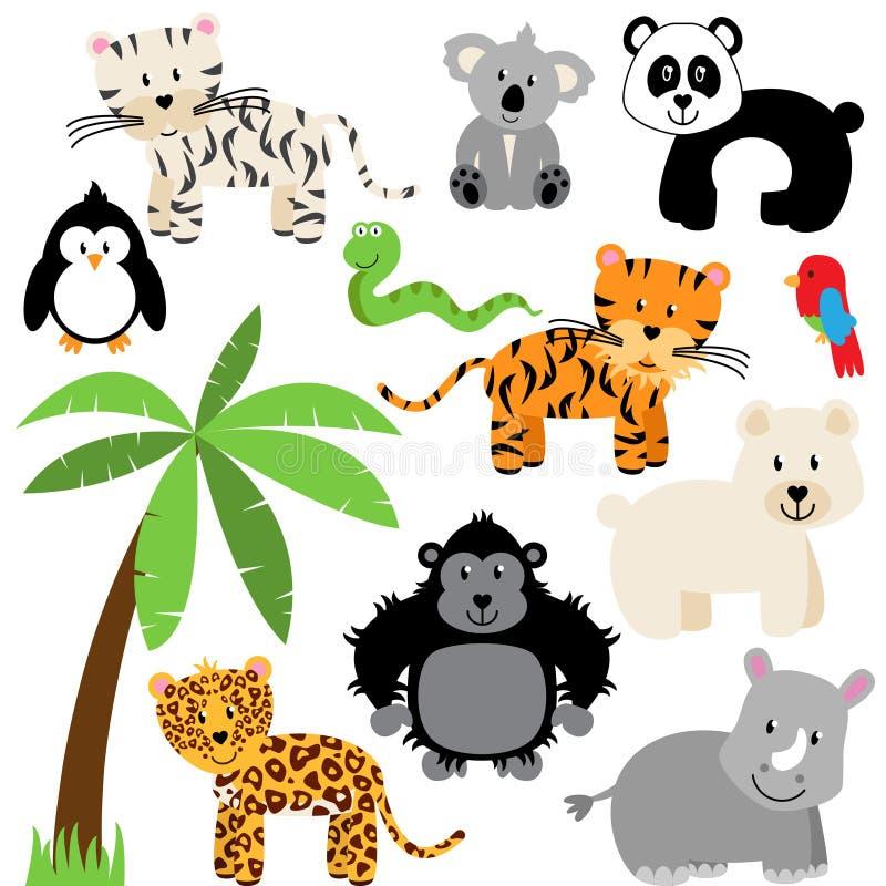 Colección del vector de parque zoológico lindo, de selva o de animales salvajes stock de ilustración