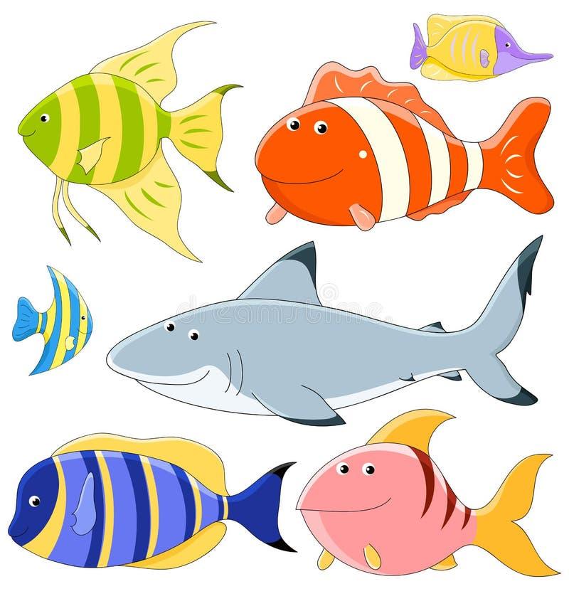 Colección del vector de pescados stock de ilustración