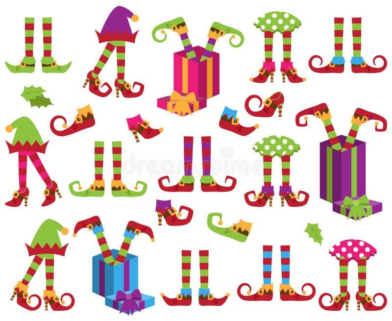 Colección del vector de pies lindos del duende del día de fiesta de la Navidad ilustración del vector